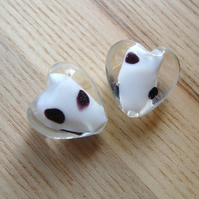 Pair of 20mm Black and White Spotty Lampwork Glass Heart Beads