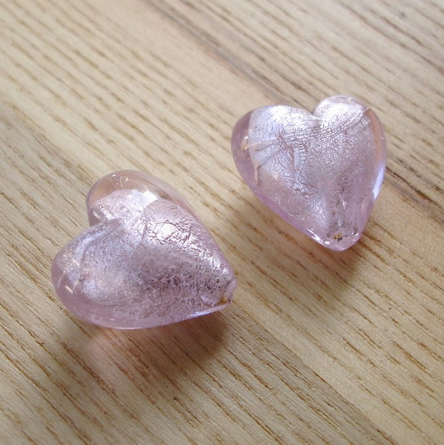 Pair of 20mm Pink Foiled Lampwork Glass Heart Beads
