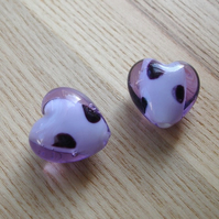 Pair of 20mm Black and Lilac Spotty Lampwork Glass Heart Beads