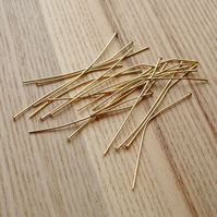 20 50mm Gold Plated Headpins