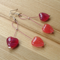 Cherry Drop Style Pink Glass Heart Bead Earrings