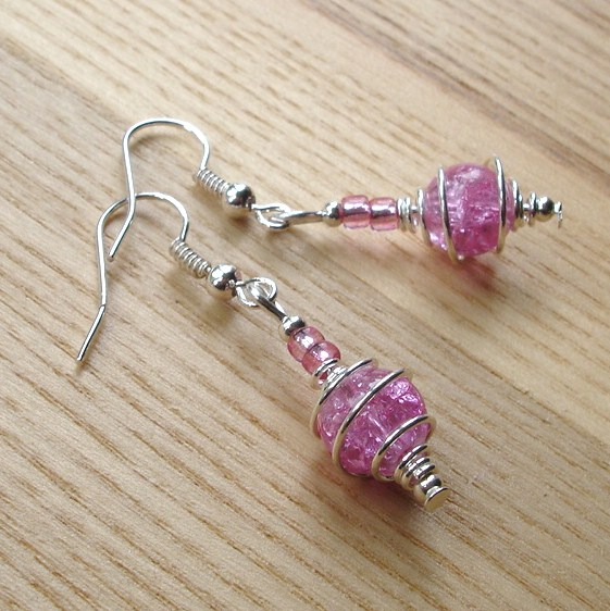 Sparkly Pink Spiral Glass Bead Earrings