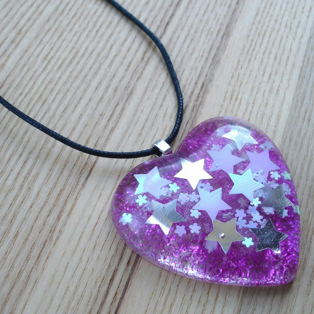Large Pink Sparkle Heart Resin Pendant