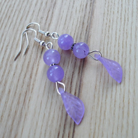 Purple Agate Gem and Lucite Leaf Earrings