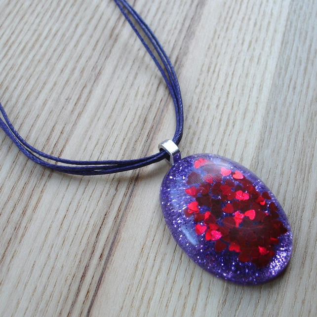 Purple and Red Hearts Sparkle Resin Pendant