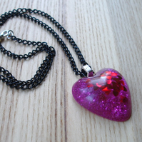 Pink and Red Hearts Gothic Sparkle Resin Pendant