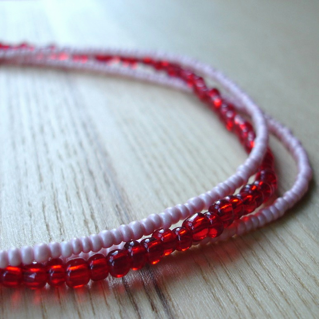 Pink and Red Seed Bead Necklace