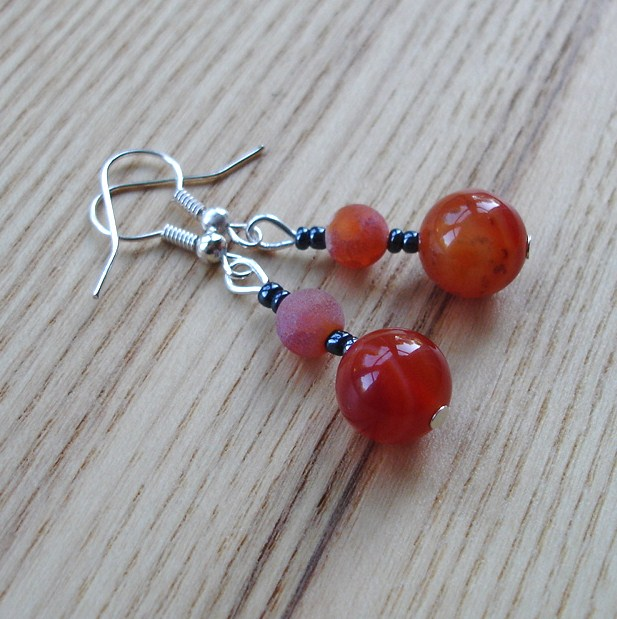 Orange Agate Bead Earrings
