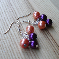 Purple and Peach Glass Faux Pearl Bead Cluster Earrings
