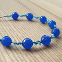 Blue Facetted Glass Bead Bracelet