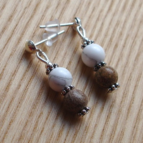 Jasper and White Howlite Gemstone Stud Earrings