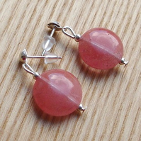 Pink Disc Gemstone Earrings