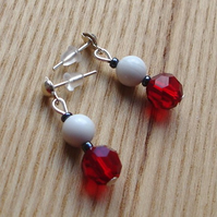 Red Crystal and White Howlite Gemstone Stud Earrings