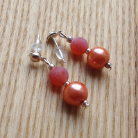 Orange Agate and Glass Pearl Bead Earrings
