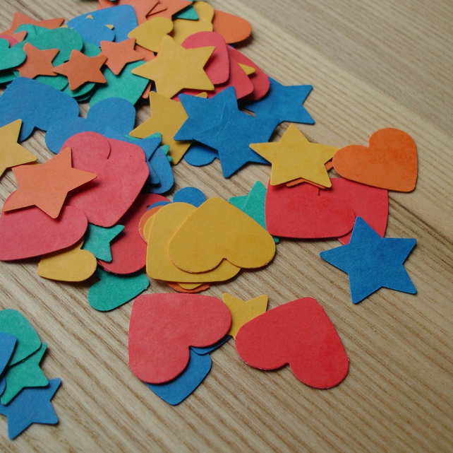 Die cut card hearts and stars for scrapbooking or cardmaking