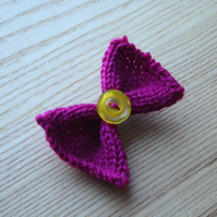 Knitted Bow Hair Clip with Button in Fuchsia