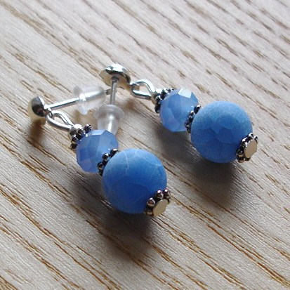 Blue Dragon Vein Agate and Sparkle Stud Earrings