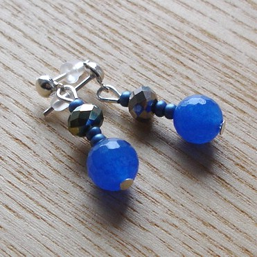 Sparkly Dark Blue Glass Bead Earrings
