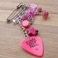 Candy Pink Rock Chick Plectrum Kilt Pin Brooch