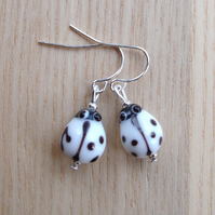 White Lampwork Glass Ladybug Earrings