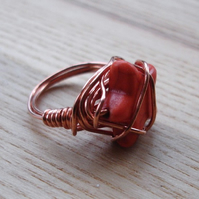 Orange Howlite Star Bead and Copper Wire Wrapped Ring