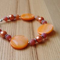 Orange Disc Bead Bracelet