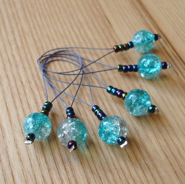 Large Turquoise Glass Bead Knitting Stitch Markers pack of 6