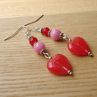 Red and Pink Heart Glass Bead Earrings