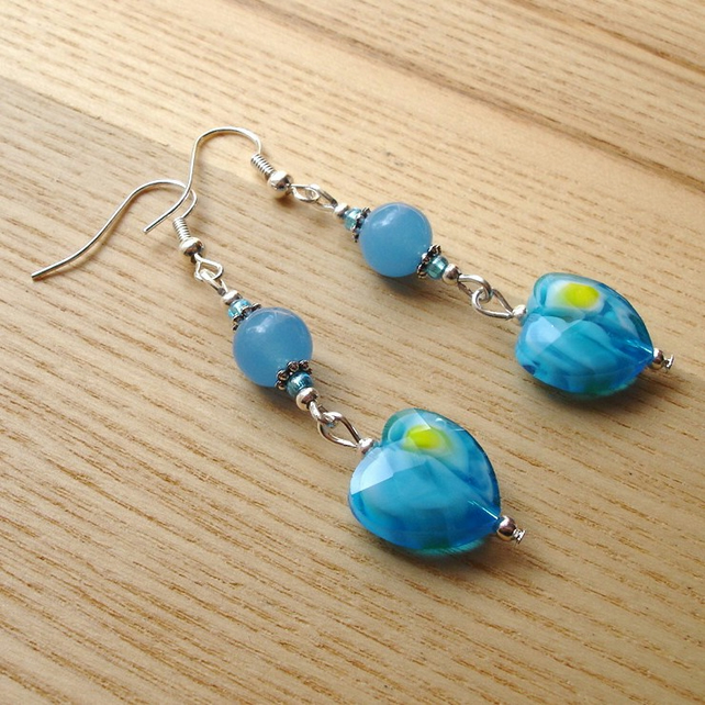 Turquoise Heart Glass Bead Earrings
