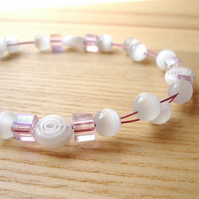 Pink and White Floating Bead Bracelet