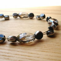 Smokey Grey Floating Bead Bracelet