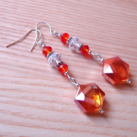 Sparkly Orange Glass Bead Earrings