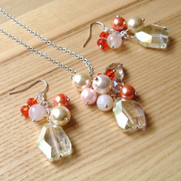 Peaches and Cream Bead Cluster Pendant and Earrings Set