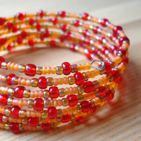 Disco Inferno Glass Bead Spiral Bracelet