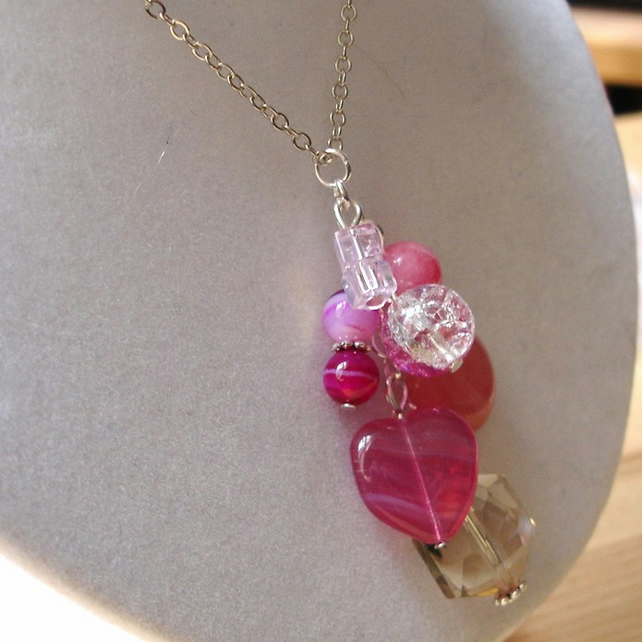 Pink Glass Bead Cluster Pendant