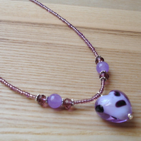 Purple Heart Glass Bead Pendant
