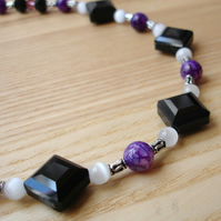 Black and Purple Diamond Bead Necklace