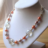 Peach Sparkle Bead Necklace