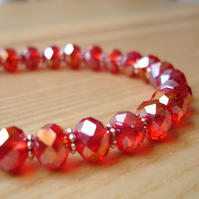 Red Glass Crystal Bead Bracelet