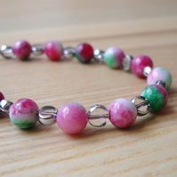 Pink and Green Mottled Glass Bead Bracelet