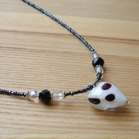 Black and White Heart Glass Bead Pendant