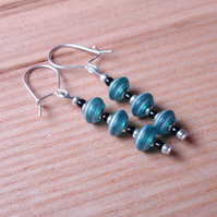 Turquoise Disc Drop Earrings