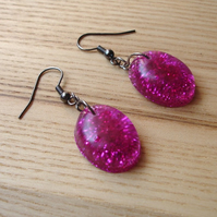 Pink Sparkle Resin Earrings