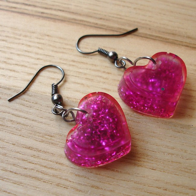 Pink Sparkle Resin Heart Earrings