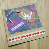 Butterfly Gift Tag Greetings Card
