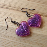 Purple Sparkle Resin Heart Earrings