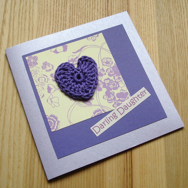 Purple Crochet Heart Greetings Card
