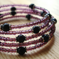 Purple Sparkle Glass Bead Spiral Bracelet
