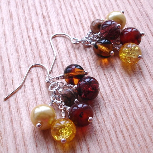 Autumn Sparkle Cluster Earrings