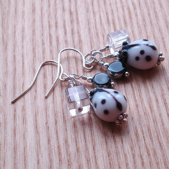 White Labybird Cluster Earrings
